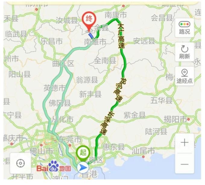 南雄到青岛地图