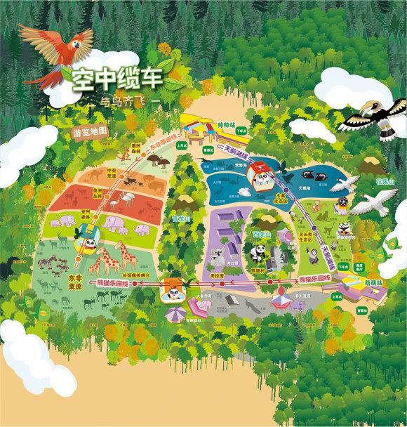 熊猫基地手绘地图