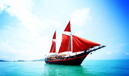 普吉岛蜜月岛龙岛 红帆船 白帆船一日游